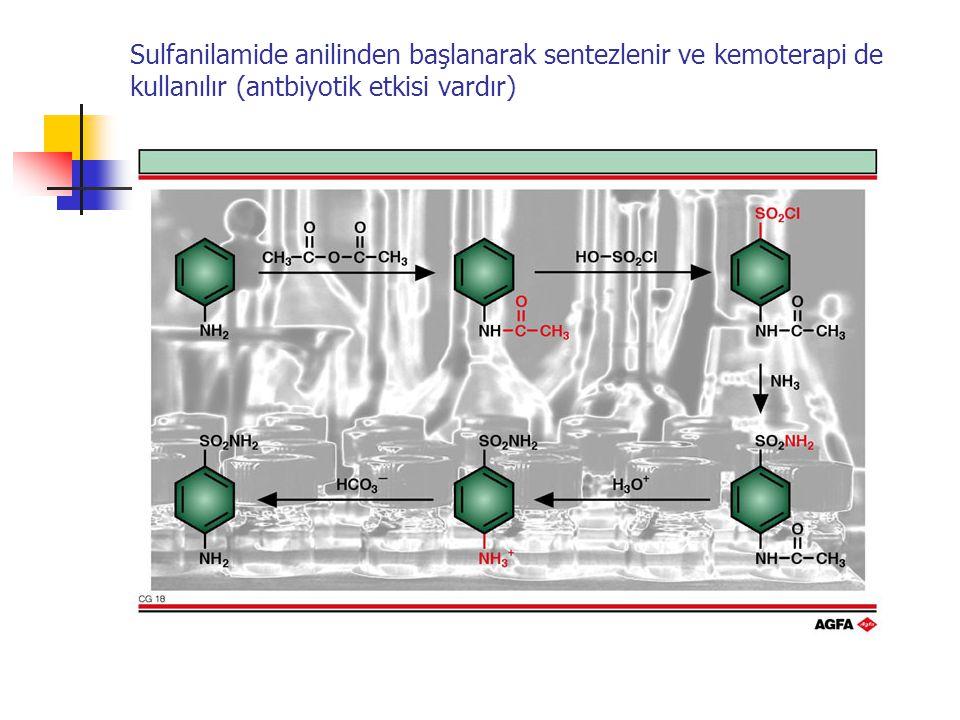 Sulfanilamide anilinden başlanarak sentezlenir ve kemoterapi de kullanılır (antbiyotik etkisi vardır)
