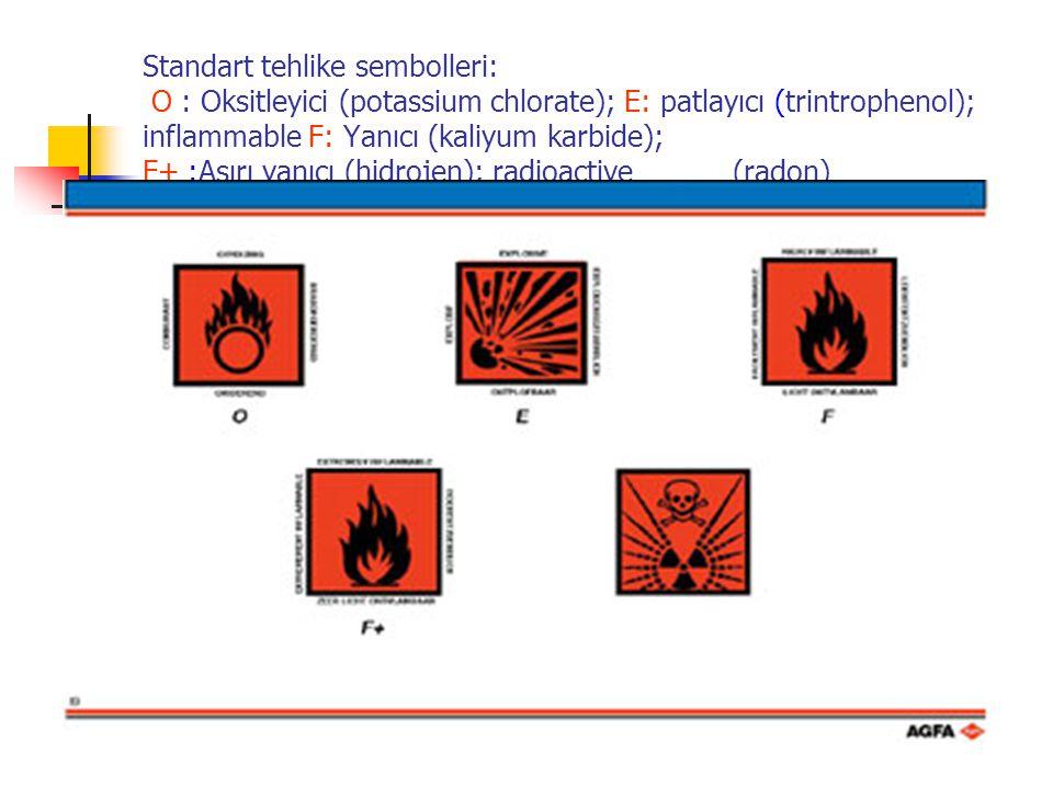 Standart tehlike sembolleri: O : Oksitleyici (potassium chlorate); E: patlayıcı (trintrophenol); inflammable F: Yanıcı (kaliyum karbide); F+ :Aşırı ya