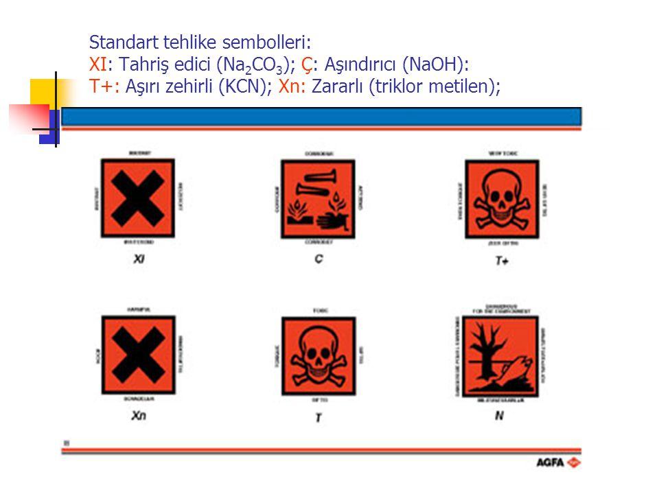 Standart tehlike sembolleri: XI: Tahriş edici (Na 2 CO 3 ); Ç: Aşındırıcı (NaOH): T+: Aşırı zehirli (KCN); Xn: Zararlı (triklor metilen); T: Zehirli (