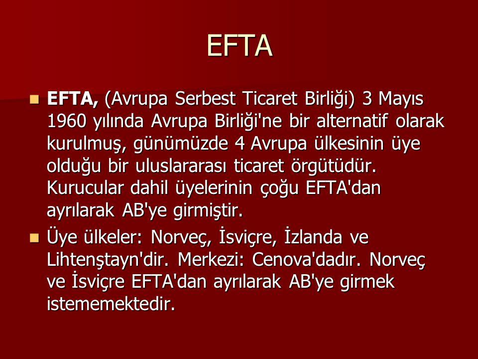 EFTA EFTA, (Avrupa Serbest Ticaret Birliği) 3 Mayıs 1960 yılında Avrupa Birliği ne bir alternatif olarak kurulmuş, günümüzde 4 Avrupa ülkesinin üye olduğu bir uluslararası ticaret örgütüdür.