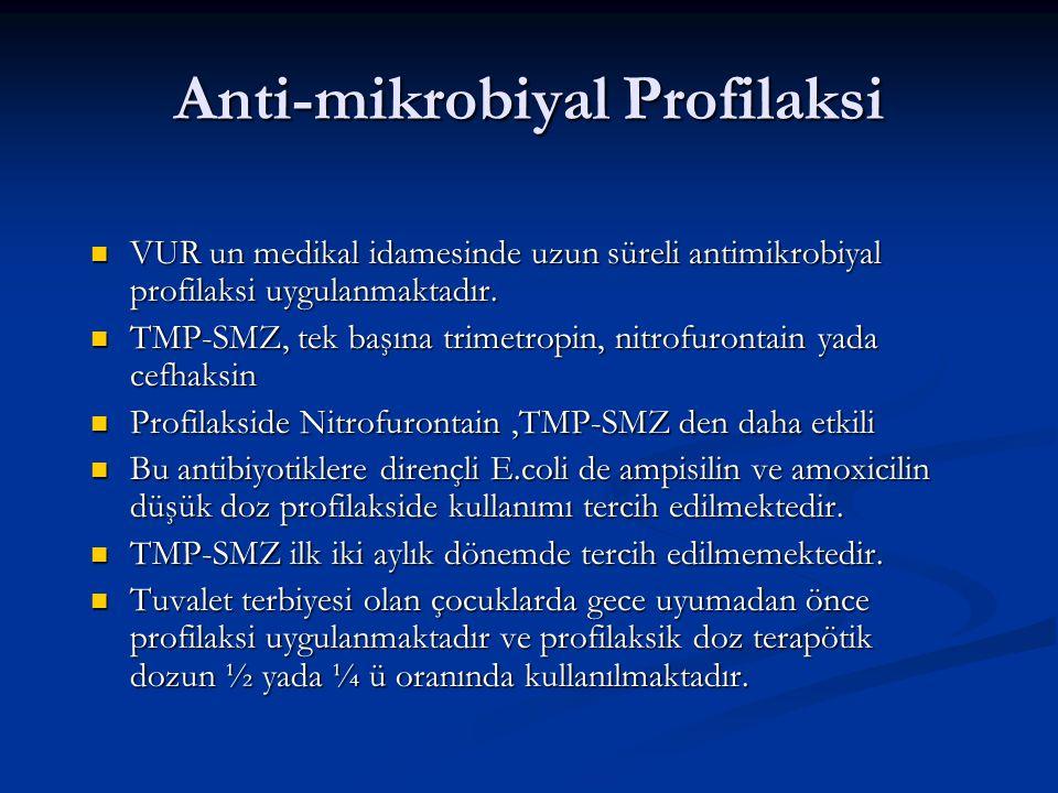 Anti-mikrobiyal Profilaksi VUR un medikal idamesinde uzun süreli antimikrobiyal profilaksi uygulanmaktadır. VUR un medikal idamesinde uzun süreli anti