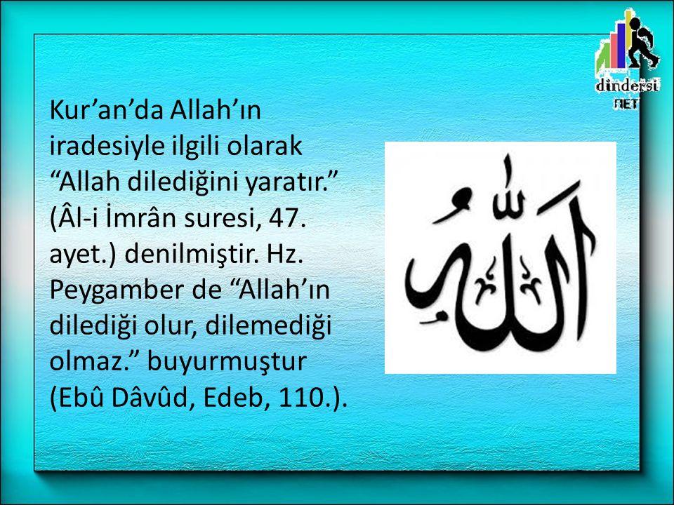 Kur'an'da Allah'ın iradesiyle ilgili olarak Allah dilediğini yaratır. (Âl-i İmrân suresi, 47.