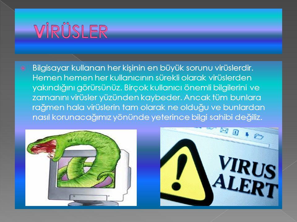  Bilgisayar kullanan her kişinin en büyük sorunu virüslerdir. Hemen hemen her kullanıcının sürekli olarak virüslerden yakındığını görürsünüz. Birçok