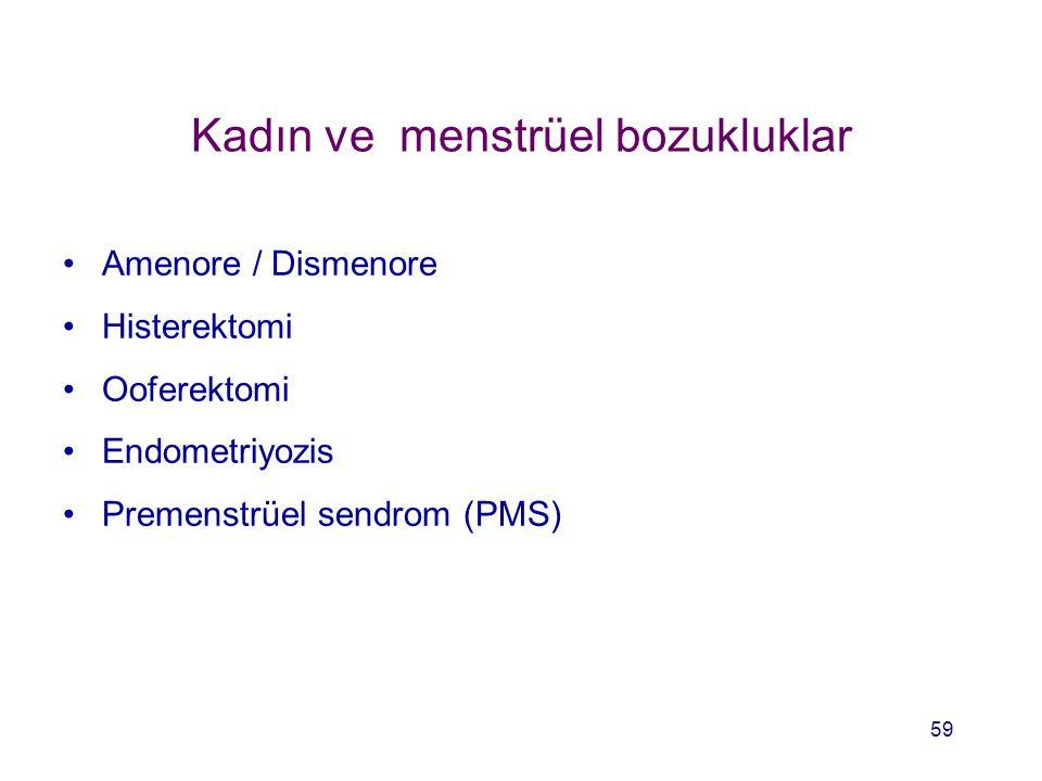 Kadın ve menstrüel bozukluklar Amenore / Dismenore Histerektomi Ooferektomi Endometriyozis Premenstrüel sendrom (PMS) 59