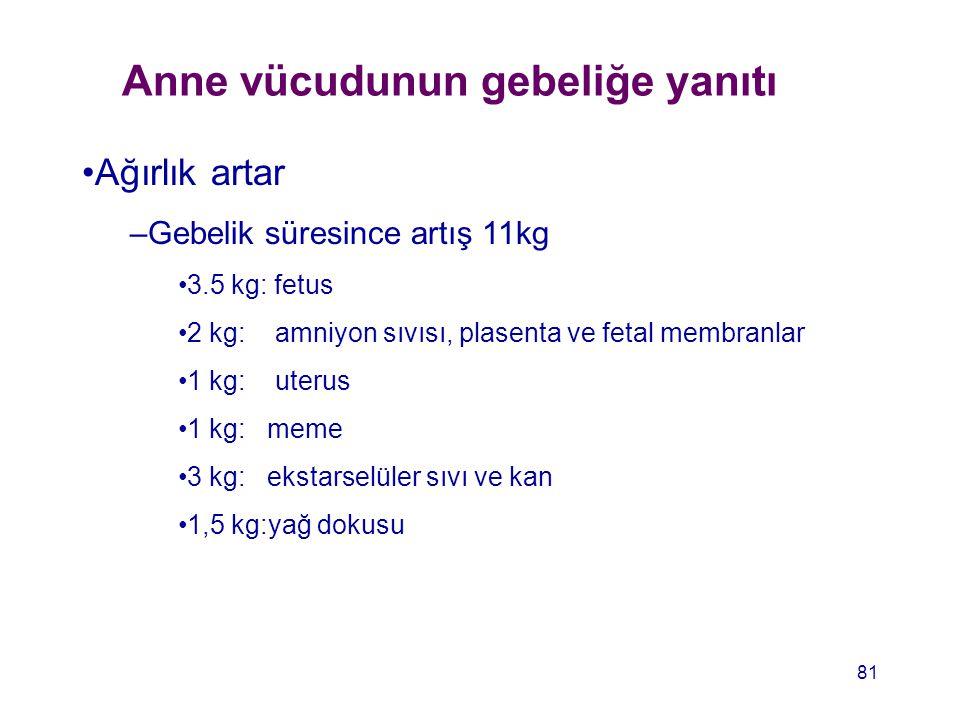 Anne vücudunun gebeliğe yanıtı Ağırlık artar –Gebelik süresince artış 11kg 3.5 kg: fetus 2 kg: amniyon sıvısı, plasenta ve fetal membranlar 1 kg: uter