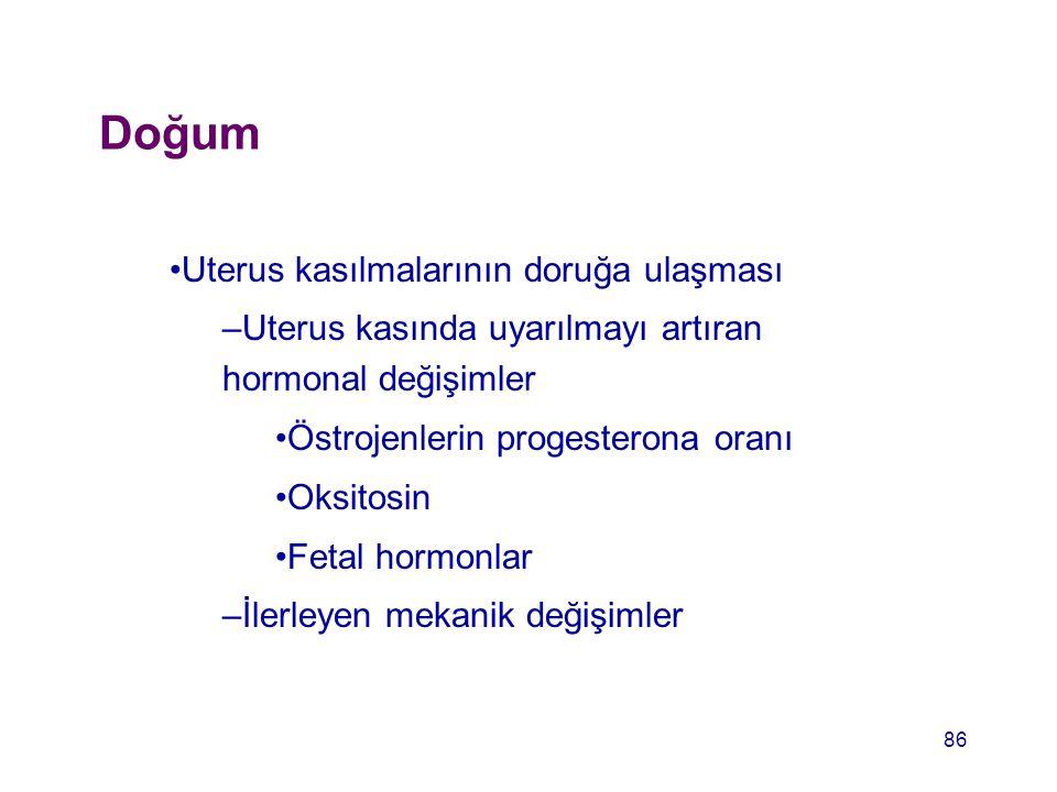 Doğum Uterus kasılmalarının doruğa ulaşması –Uterus kasında uyarılmayı artıran hormonal değişimler Östrojenlerin progesterona oranı Oksitosin Fetal ho