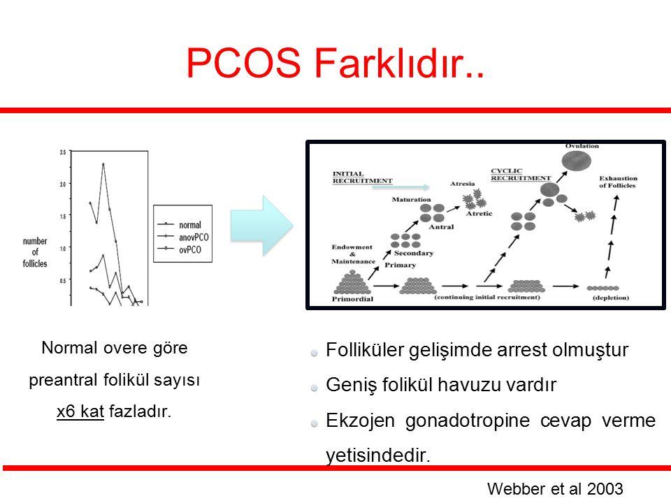 PCOS Farklıdır.. Normal overe göre preantral folikül sayısı x6 kat fazladır. Webber et al 2003 Folliküler gelişimde arrest olmuştur Geniş folikül havu