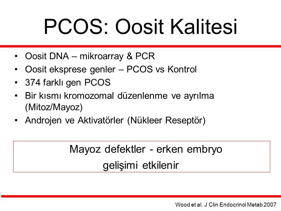 PCOS: Oosit Kalitesi Oosit DNA – mikroarray & PCR Oosit eksprese genler – PCOS vs Kontrol 374 farklı gen PCOS Bir kısmı kromozomal düzenlenme ve ayrıl