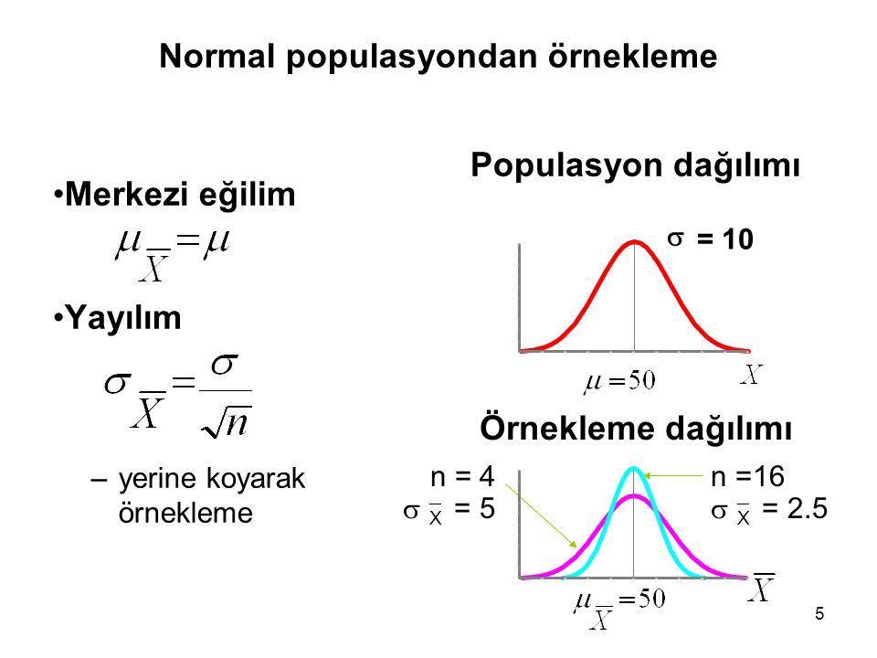 5 Normal populasyondan örnekleme Merkezi eğilim Yayılım –yerine koyarak örnekleme Populasyon dağılımı Örnekleme dağılımı n =16   X = 2.5 n = 4   X = 5   = 10