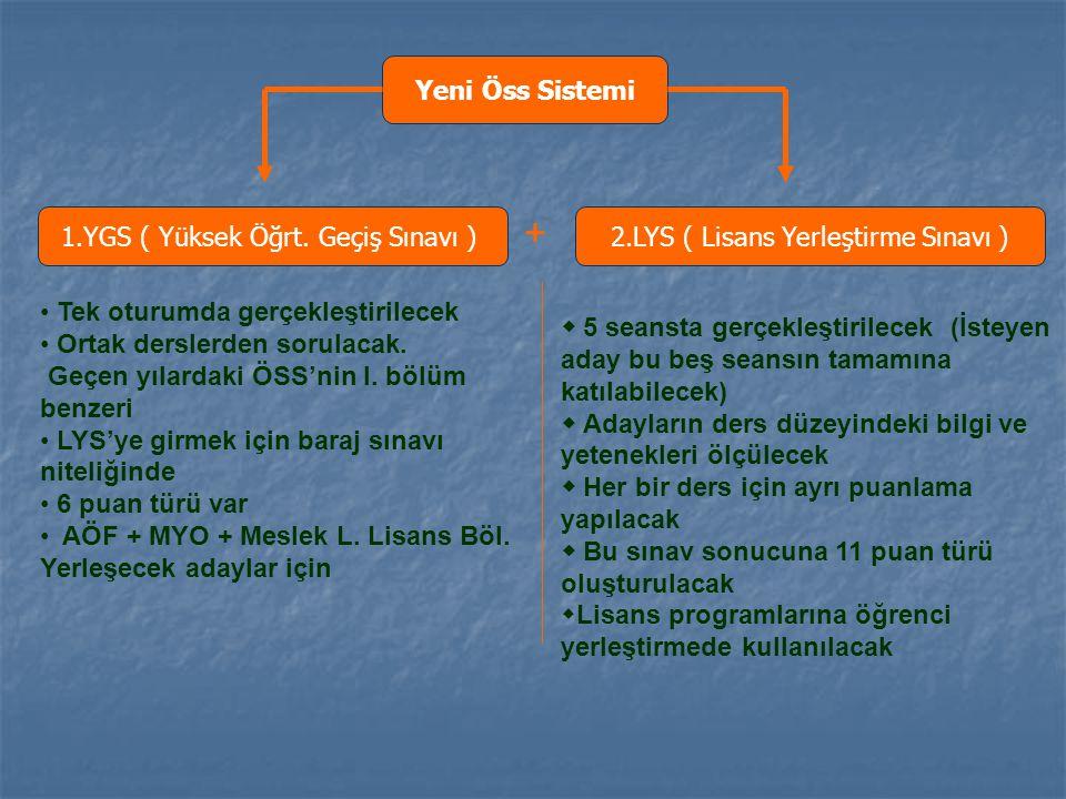 1.YGS ( Yüksek Öğrt. Geçiş Sınavı ) 2.LYS ( Lisans Yerleştirme Sınavı ) + Tek oturumda gerçekleştirilecek Ortak derslerden sorulacak. Geçen yılardaki