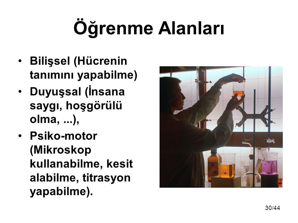 30/44 Öğrenme Alanları Bilişsel (Hücrenin tanımını yapabilme) Duyuşsal (İnsana saygı, hoşgörülü olma,...), Psiko-motor (Mikroskop kullanabilme, kesit alabilme, titrasyon yapabilme).