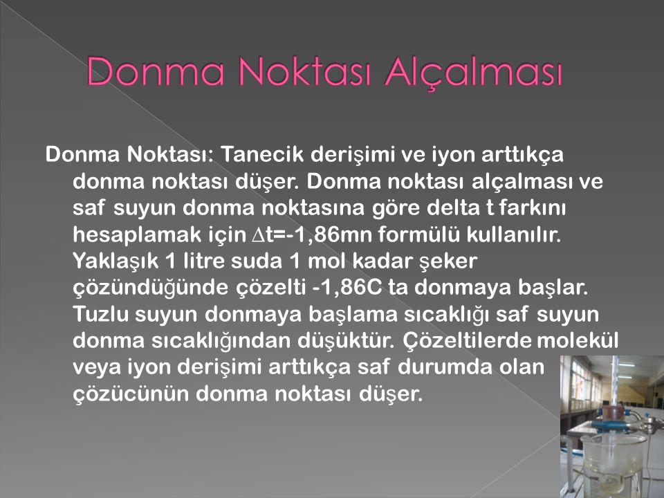 Donma Noktası: Tanecik deri ş imi ve iyon arttıkça donma noktası dü ş er.