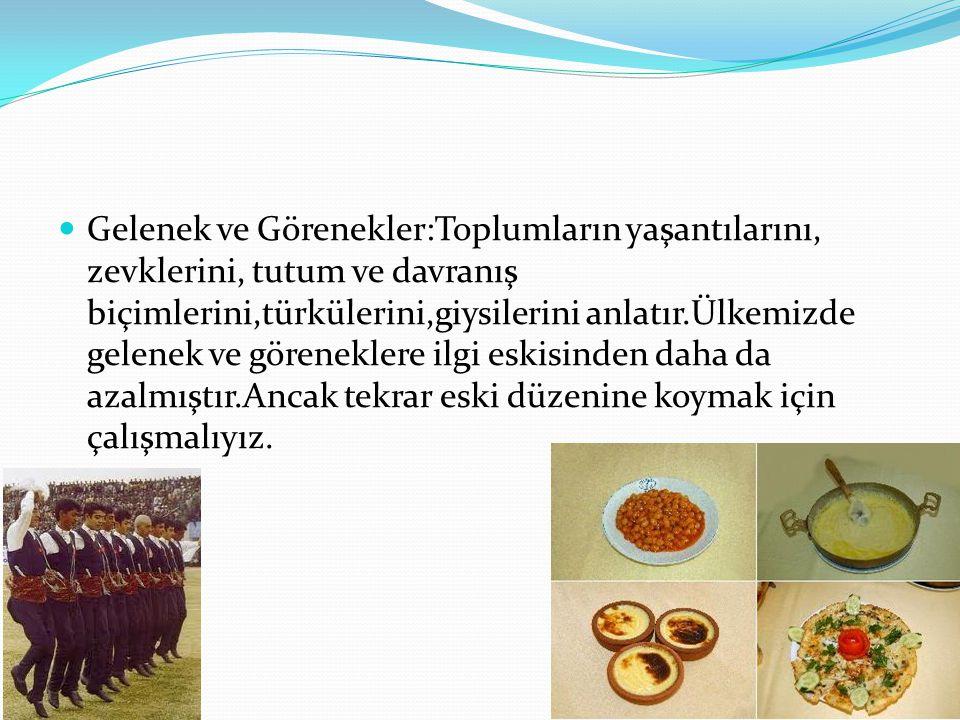 Gelenek ve Görenekler:Toplumların yaşantılarını, zevklerini, tutum ve davranış biçimlerini,türkülerini,giysilerini anlatır.Ülkemizde gelenek ve görene