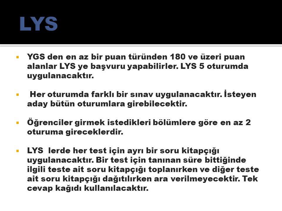  YGS den en az bir puan türünden 180 ve üzeri puan alanlar LYS ye başvuru yapabilirler.