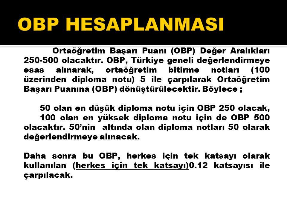 Ortaöğretim Başarı Puanı (OBP) Değer Aralıkları 250-500 olacaktır.