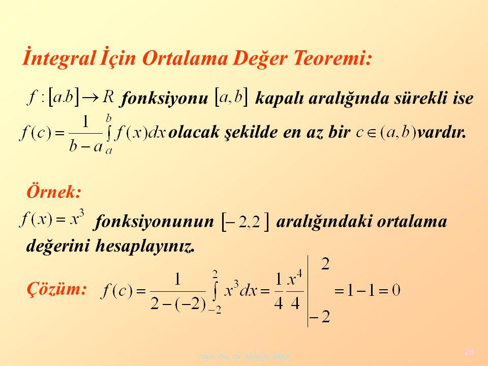 Yard. Doç. Dr. Mustafa Akkol 28 İntegral İçin Ortalama Değer Teoremi: olacak şekilde en az bir vardır. fonksiyonukapalı aralığında sürekli ise Örnek: