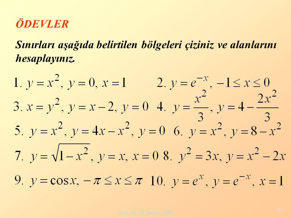 Yard. Doç. Dr. Mustafa Akkol 31 ÖDEVLER Sınırları aşağıda belirtilen bölgeleri çiziniz ve alanlarını hesaplayınız.