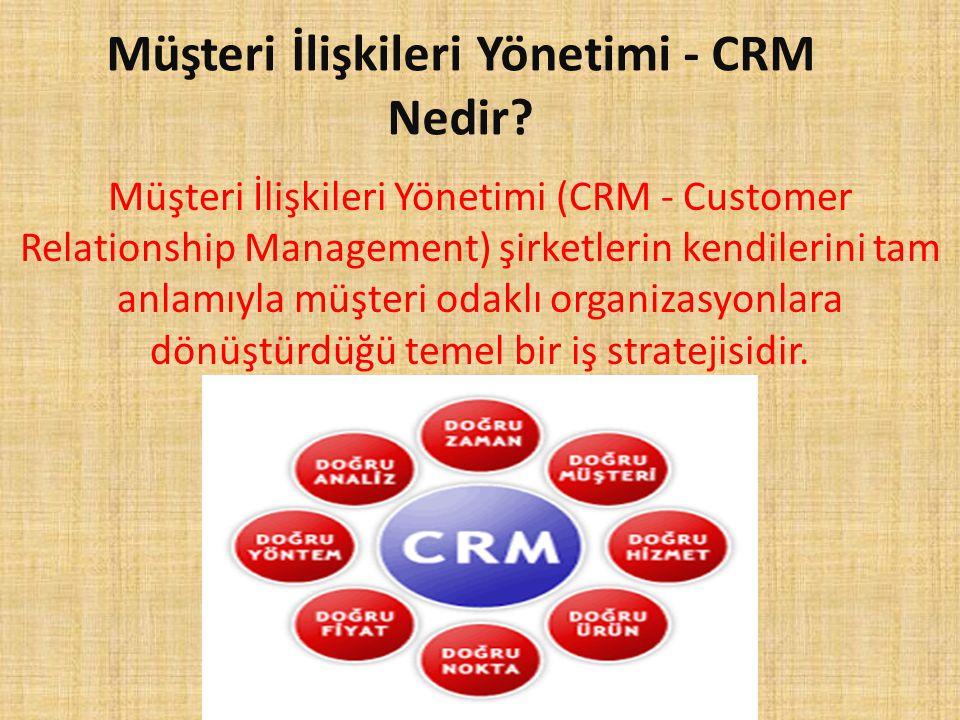 Müşteri İlişkileri Yönetimi - CRM Nedir? Müşteri İlişkileri Yönetimi (CRM - Customer Relationship Management) şirketlerin kendilerini tam anlamıyla mü