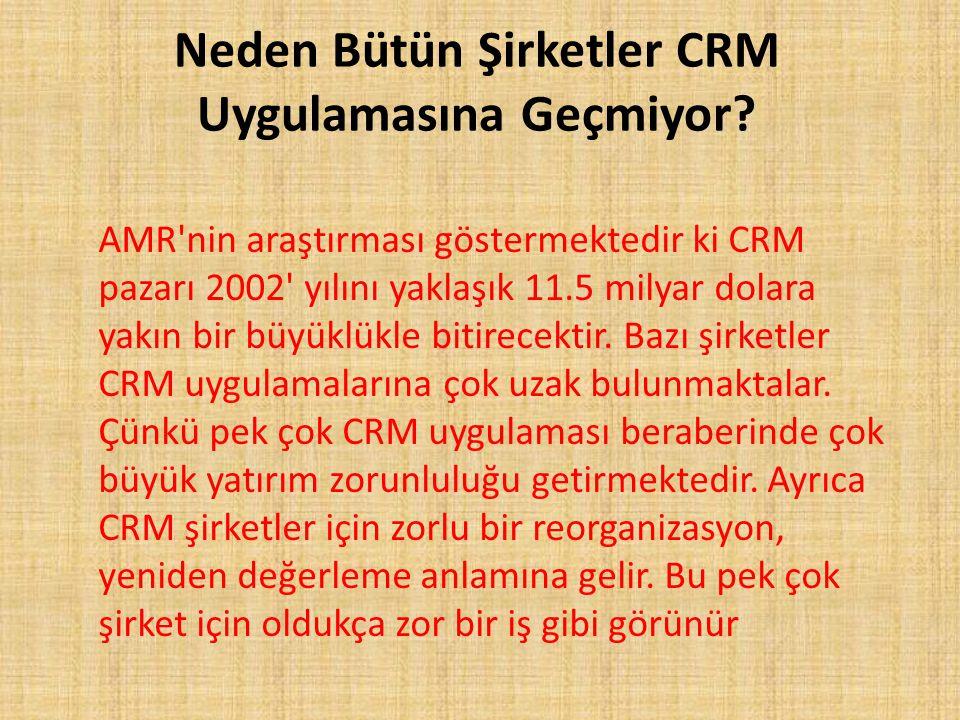 Neden Bütün Şirketler CRM Uygulamasına Geçmiyor? AMR'nin araştırması göstermektedir ki CRM pazarı 2002' yılını yaklaşık 11.5 milyar dolara yakın bir b