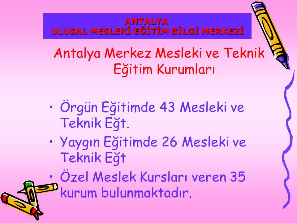 Antalya Merkez Mesleki ve Teknik Eğitim Kurumları Örgün Eğitimde 43 Mesleki ve Teknik Eğt.