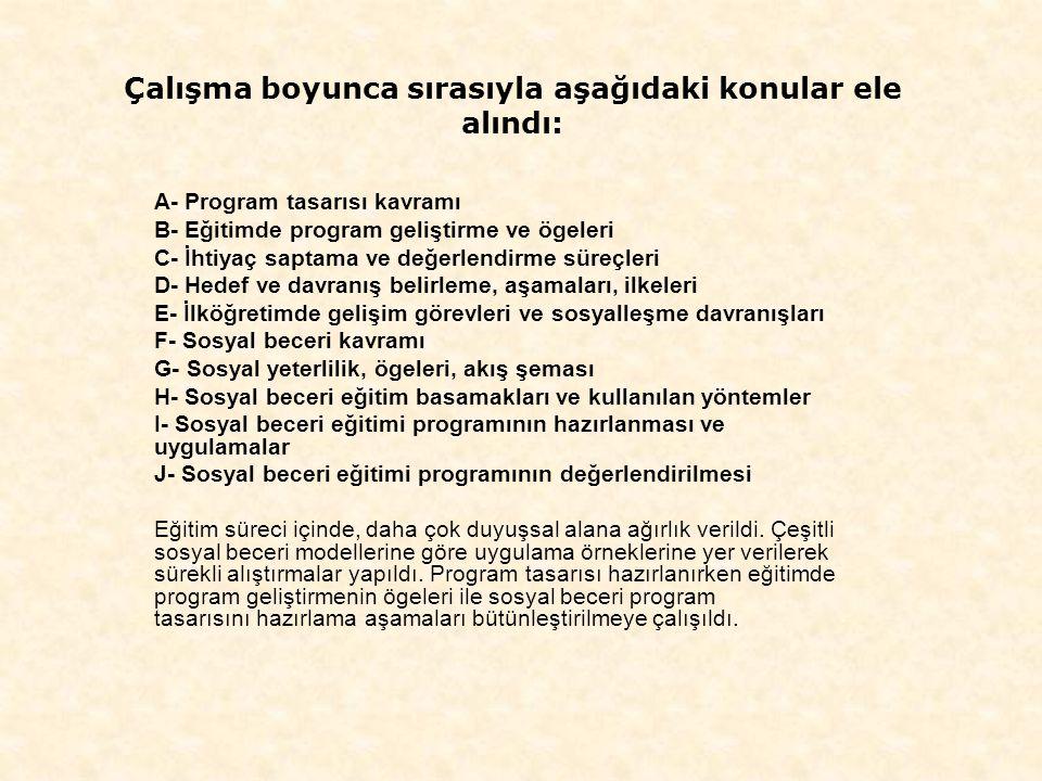 Çalışma boyunca sırasıyla aşağıdaki konular ele alındı: A- Program tasarısı kavramı B- Eğitimde program geliştirme ve ögeleri C- İhtiyaç saptama ve değerlendirme süreçleri D- Hedef ve davranış belirleme, aşamaları, ilkeleri E- İlköğretimde gelişim görevleri ve sosyalleşme davranışları F- Sosyal beceri kavramı G- Sosyal yeterlilik, ögeleri, akış şeması H- Sosyal beceri eğitim basamakları ve kullanılan yöntemler I- Sosyal beceri eğitimi programının hazırlanması ve uygulamalar J- Sosyal beceri eğitimi programının değerlendirilmesi Eğitim süreci içinde, daha çok duyuşsal alana ağırlık verildi.