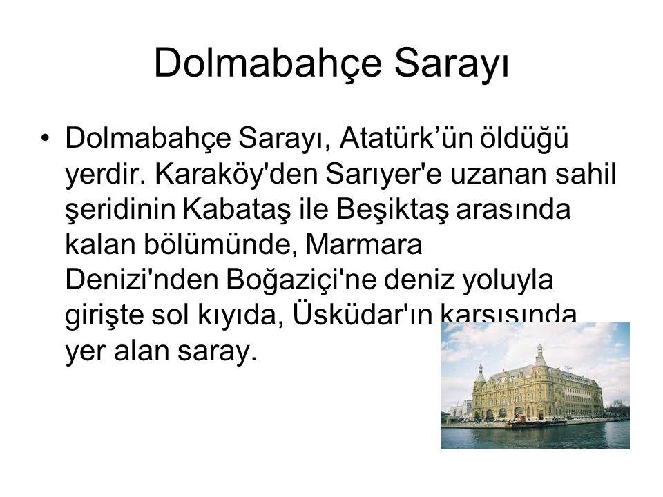 Dolmabahçe Sarayı Dolmabahçe Sarayı, Atatürk'ün öldüğü yerdir. Karaköy'den Sarıyer'e uzanan sahil şeridinin Kabataş ile Beşiktaş arasında kalan bölümü
