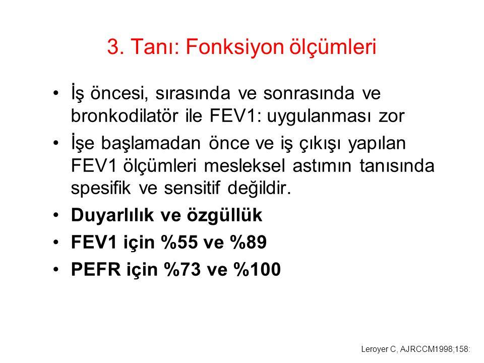 3. Tanı: Fonksiyon ölçümleri İş öncesi, sırasında ve sonrasında ve bronkodilatör ile FEV1: uygulanması zor İşe başlamadan önce ve iş çıkışı yapılan FE
