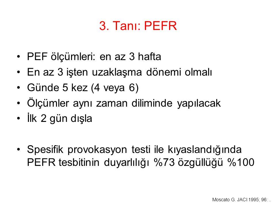 3. Tanı: PEFR PEF ölçümleri: en az 3 hafta En az 3 işten uzaklaşma dönemi olmalı Günde 5 kez (4 veya 6) Ölçümler aynı zaman diliminde yapılacak İlk 2