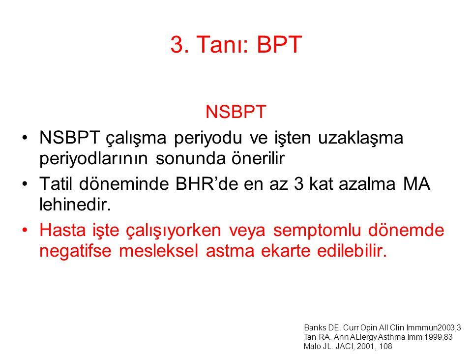 3. Tanı: BPT NSBPT NSBPT çalışma periyodu ve işten uzaklaşma periyodlarının sonunda önerilir Tatil döneminde BHR'de en az 3 kat azalma MA lehinedir. H