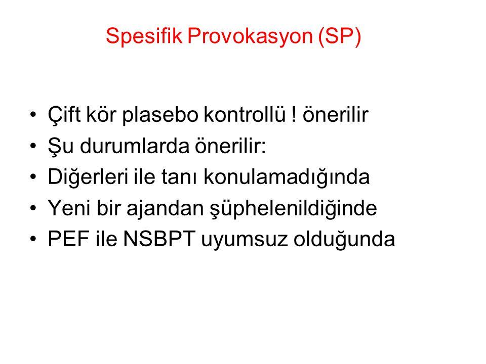 Spesifik Provokasyon (SP) Çift kör plasebo kontrollü ! önerilir Şu durumlarda önerilir: Diğerleri ile tanı konulamadığında Yeni bir ajandan şüphelenil