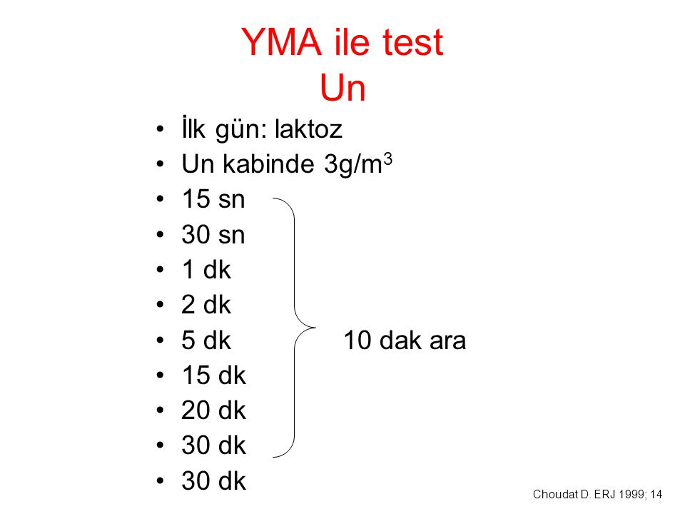 YMA ile test Un İlk gün: laktoz Un kabinde 3g/m 3 15 sn 30 sn 1 dk 2 dk 5 dk 10 dak ara 15 dk 20 dk 30 dk Choudat D. ERJ 1999; 14