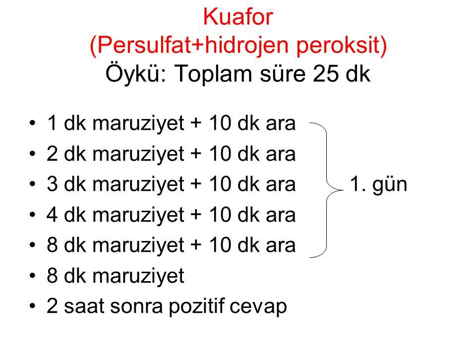 Kuafor (Persulfat+hidrojen peroksit) Öykü: Toplam süre 25 dk 1 dk maruziyet + 10 dk ara 2 dk maruziyet + 10 dk ara 3 dk maruziyet + 10 dk ara 1. gün 4