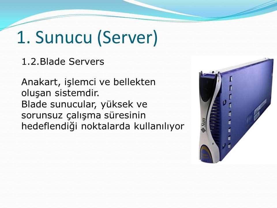 1.Sunucu (Server) 1.2.Blade Servers Anakart, işlemci ve bellekten oluşan sistemdir.