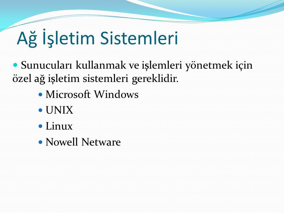 Ağ İşletim Sistemleri Sunucuları kullanmak ve işlemleri yönetmek için özel ağ işletim sistemleri gereklidir.