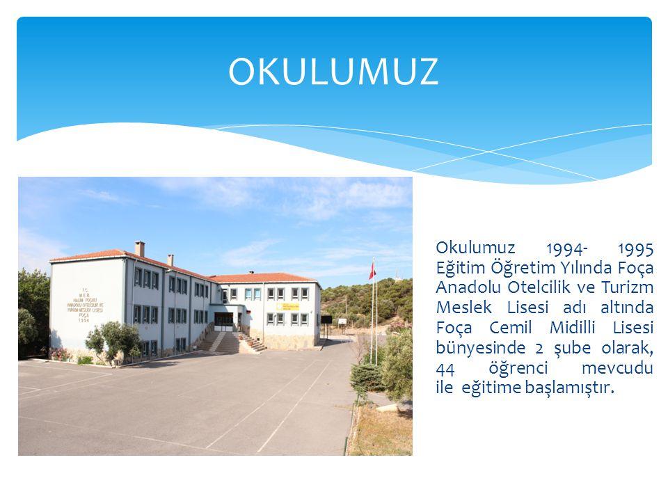 Okulumuz 1994- 1995 Eğitim Öğretim Yılında Foça Anadolu Otelcilik ve Turizm Meslek Lisesi adı altında Foça Cemil Midilli Lisesi bünyesinde 2 şube olar