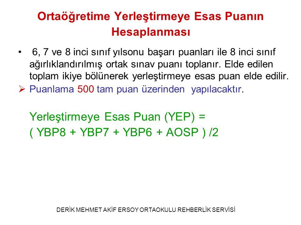 Ağırlıklandırılmış Ortak Sınav Puanının Hesaplanması (TEOG SINAV PUANININ HESAPLANMASI) OSP= ((( (SPTürkçe x AKTürkçe + SPMat x AKMat + SPFen x AKFen