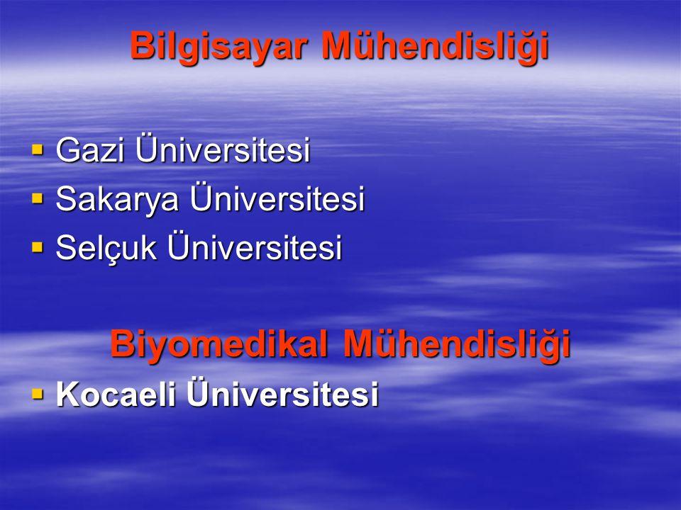 Bilgisayar Mühendisliği  Gazi Üniversitesi  Sakarya Üniversitesi  Selçuk Üniversitesi Biyomedikal Mühendisliği  Kocaeli Üniversitesi