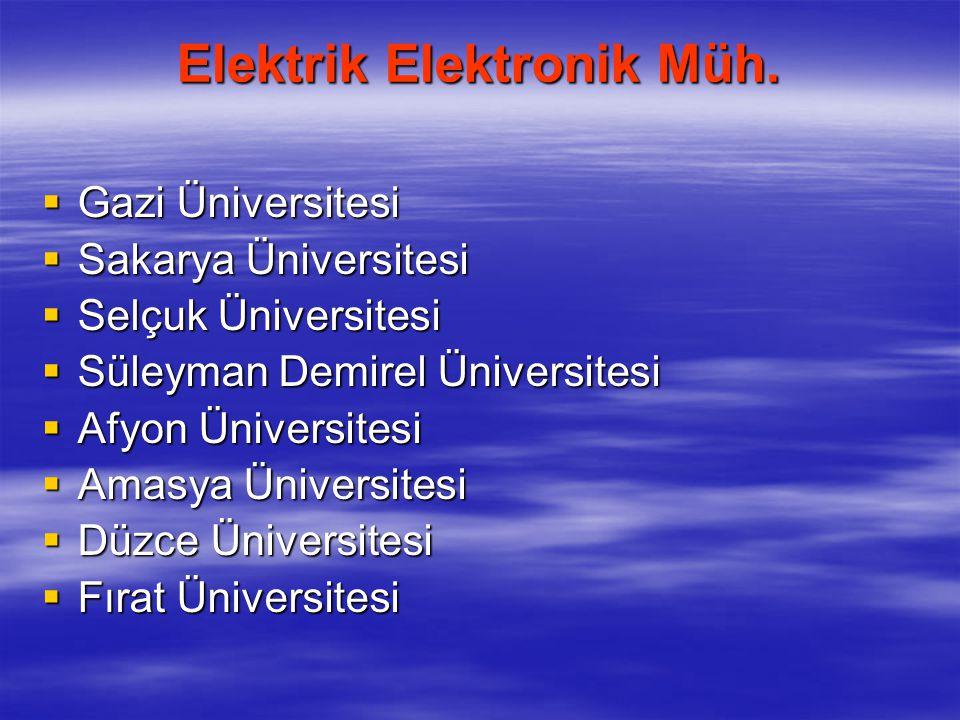 Mekatronik Mühendisliği  Marmara Üniversitesi  Sakarya Üniversitesi  Pamukkale Üniversitesi  Karabük Üniversitesi  Fırat Üniversitesi