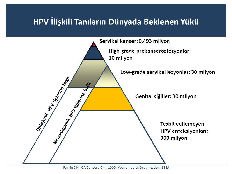 HPV İlişkili Tanıların Dünyada Beklenen Yükü Servikal kanser: 0.493 milyon High-grade prekanseröz lezyonlar: 10 milyon Low-grade servikal lezyonlar: 30 milyon Genital siğiller: 30 milyon Onkojenik HPV tiplerine bağlı Tesbit edilemeyen HPV enfeksiyonları: 300 milyon Nononkojenik HPV tiplerine bağlı Parkin DM, CA Cancer J Clin.