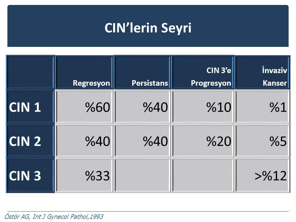 CIN'lerin Seyri RegresyonPersistans CIN 3'e Progresyon İnvaziv Kanser CIN 1%60%40%10%1 CIN 2%40 %20%5 CIN 3%33>%12 Östör AG, Int J Gynecol Pathol,1993