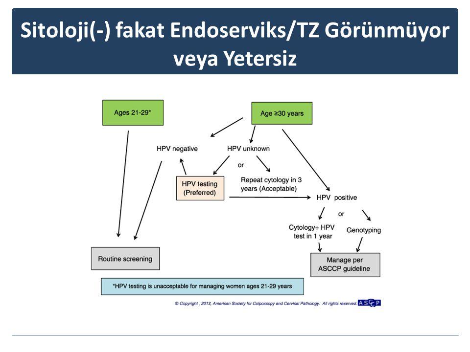 Sitoloji(-) fakat Endoserviks/TZ Görünmüyor veya Yetersiz