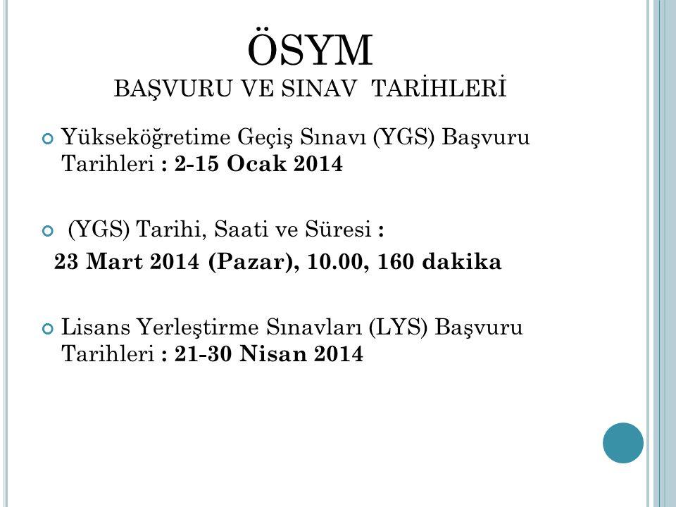 ÖSYM BAŞVURU VE SINAV TARİHLERİ Yükseköğretime Geçiş Sınavı (YGS) Başvuru Tarihleri : 2-15 Ocak 2014 (YGS) Tarihi, Saati ve Süresi : 23 Mart 2014 (Pazar), 10.00, 160 dakika Lisans Yerleştirme Sınavları (LYS) Başvuru Tarihleri : 21-30 Nisan 2014