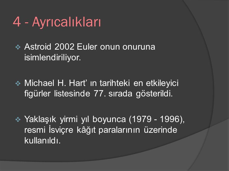 4 - Ayrıcalıkları  Astroid 2002 Euler onun onuruna isimlendiriliyor.  Michael H. Hart' ın tarihteki en etkileyici figürler listesinde 77. sırada gös