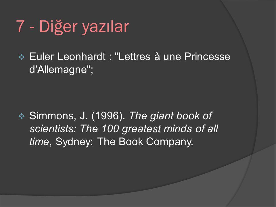 7 - Diğer yazılar  Euler Leonhardt :