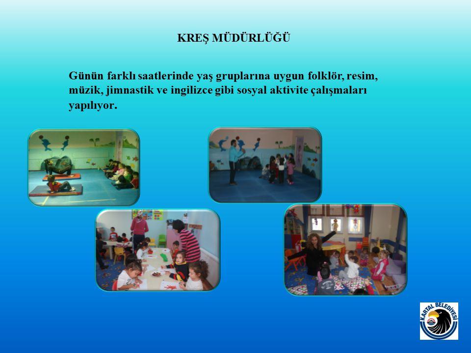 Günün farklı saatlerinde yaş gruplarına uygun folklör, resim, müzik, jimnastik ve ingilizce gibi sosyal aktivite çalışmaları yapılıyor.