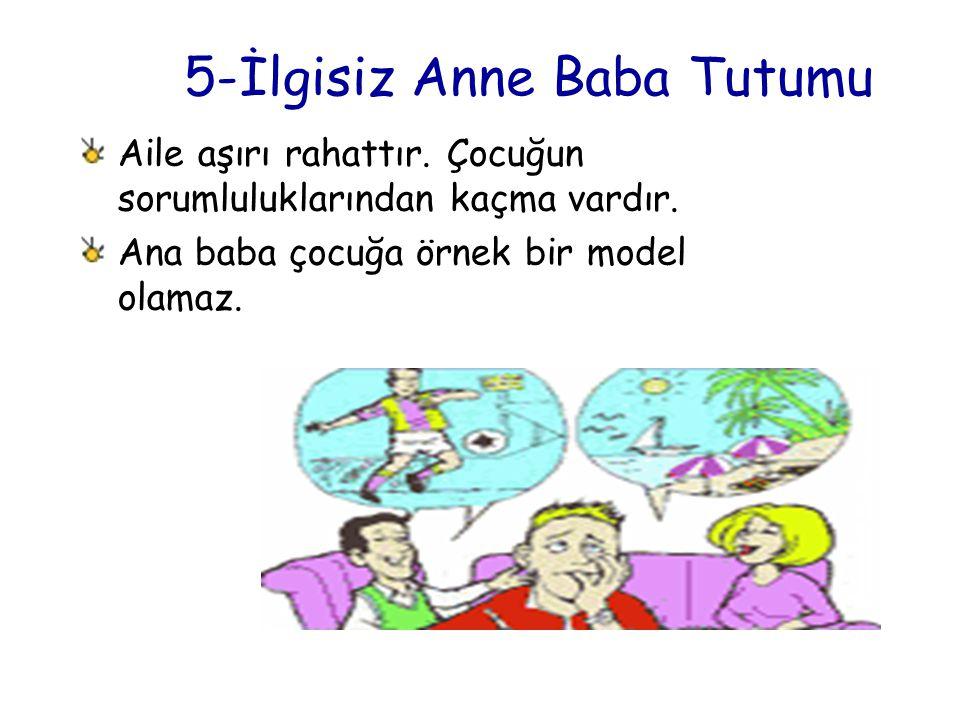 5-İlgisiz Anne Baba Tutumu Aile aşırı rahattır. Çocuğun sorumluluklarından kaçma vardır. Ana baba çocuğa örnek bir model olamaz.