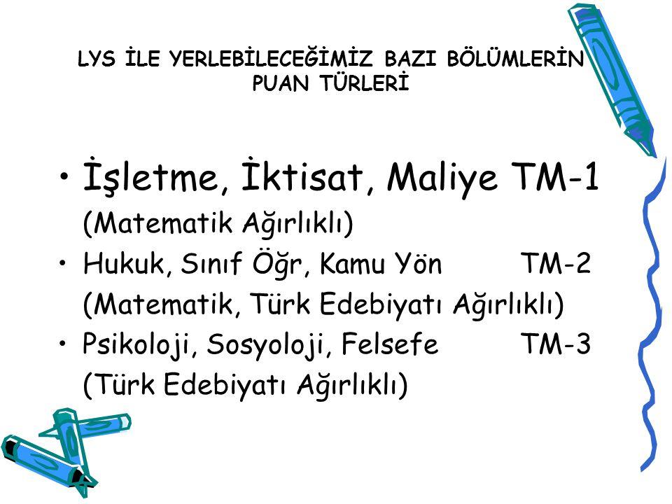 TM Puanı için derslerin katkı oranları Türkçe T.MatSosyalFen B.Mat.Geom.TDECoğraf ya 1 TM 1 1416552510187 TM 2 14 75228 8 TM 3 1510 51872510