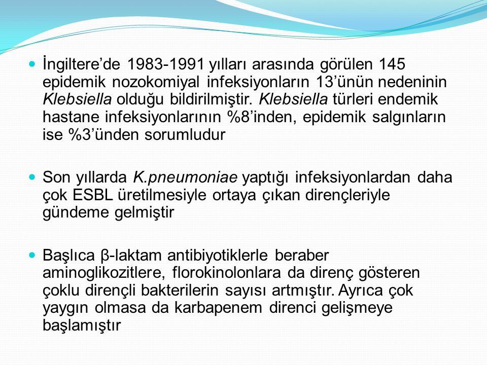 İngiltere'de 1983-1991 yılları arasında görülen 145 epidemik nozokomiyal infeksiyonların 13'ünün nedeninin Klebsiella olduğu bildirilmiştir.