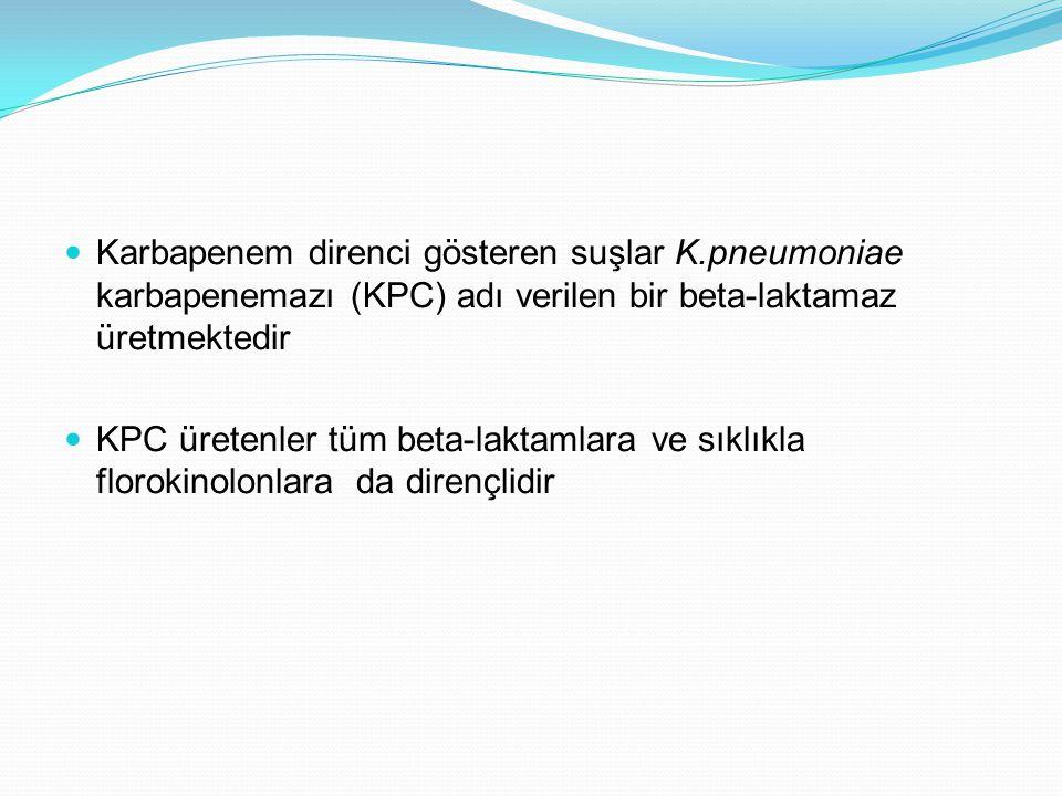 Karbapenem direnci gösteren suşlar K.pneumoniae karbapenemazı (KPC) adı verilen bir beta-laktamaz üretmektedir KPC üretenler tüm beta-laktamlara ve sıklıkla florokinolonlara da dirençlidir