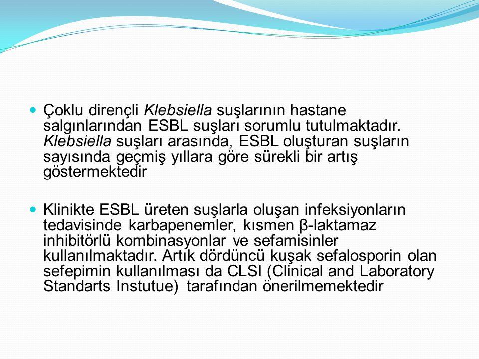 Çoklu dirençli Klebsiella suşlarının hastane salgınlarından ESBL suşları sorumlu tutulmaktadır. Klebsiella suşları arasında, ESBL oluşturan suşların s